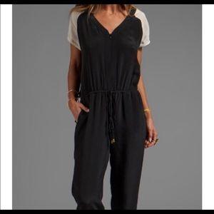 100% silk Jumpsuit full length black & white